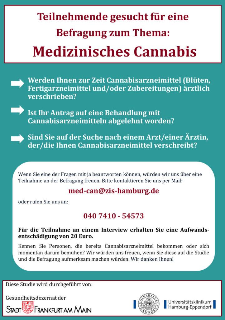 Teilnehmende gesucht für eine Befragung zum Thema: Medizinisches Cannabis